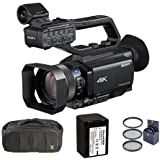Sony HXR-NX80 Compact 1 NXCAM 4K Camcorder - Bundle With Video Bag, 62mm Filter Kit, Spare NP-FV70 Battery