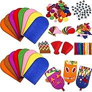 16 Pieces Felt Hand Puppet Craft Kit Kids Craft Felt Sock Puppet Making Set with Pompoms Googly Wiggle Eyes fo