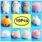 Mochi Squishy Toys, Outee 10 Pcs Squeeze Stress Toy Mini Squishies Stress Relief Squishy Cat Mochi Squishies Toy Cat Mochi Squeeze Cat Mochi Animals Squishy Stress Random Squishy Animal Stress Toys Mochi Squeeze