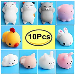 Amazon.com: Mochi Squishy Animals, Outee 10 Pcs Stretchy Squishy Toys Cat Mochi Squeeze Cat ...