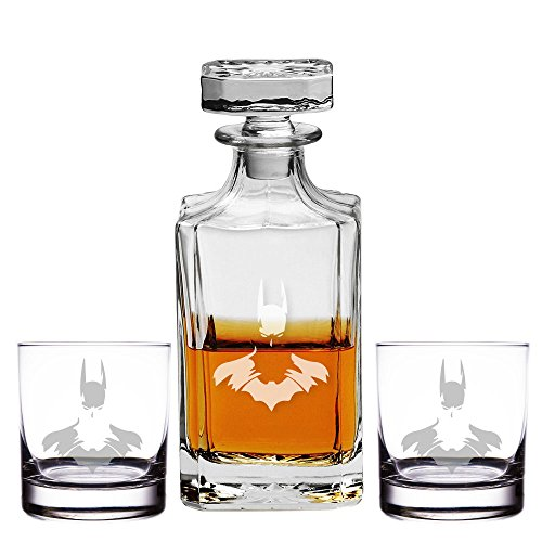 Abby Smith, Batman Silhouette Engraved Decanter and Rocks Glasses, Set of 3]()