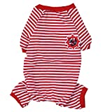 Per Dog Cat Pajamas with Stripe Pattern and Four Feet Design, Pet All Season PJS Jumpsuit for Small and Medium Sized Dog Puppy Cat Kitten - Red, S/M/L/XL/2XL