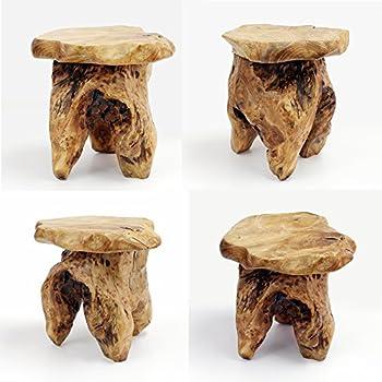 """WELLAND Tree Stump Stool Live Edge, Natural Edge Side Table, Plant Stand, Nightstand, Mushroom Stool 14"""" Tall"""