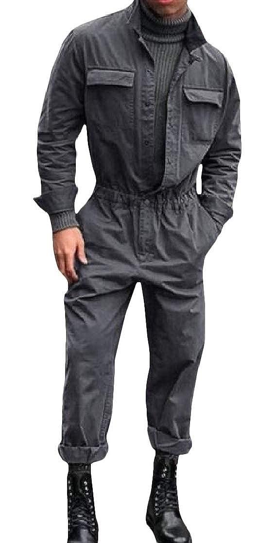 JuJuTa Mens Stand Collar Pocket Turn Down Collar Long-Sleeve Jumpsuits Pants