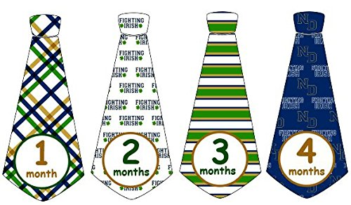 Monthly Baby Boy NCAA Notre Dame Fighting Irish Football Tie Stickers Monthly Tie Stickers ND Monthly Stickers Monthly Tie Stickers Monthly Sports Stickers UNCUT