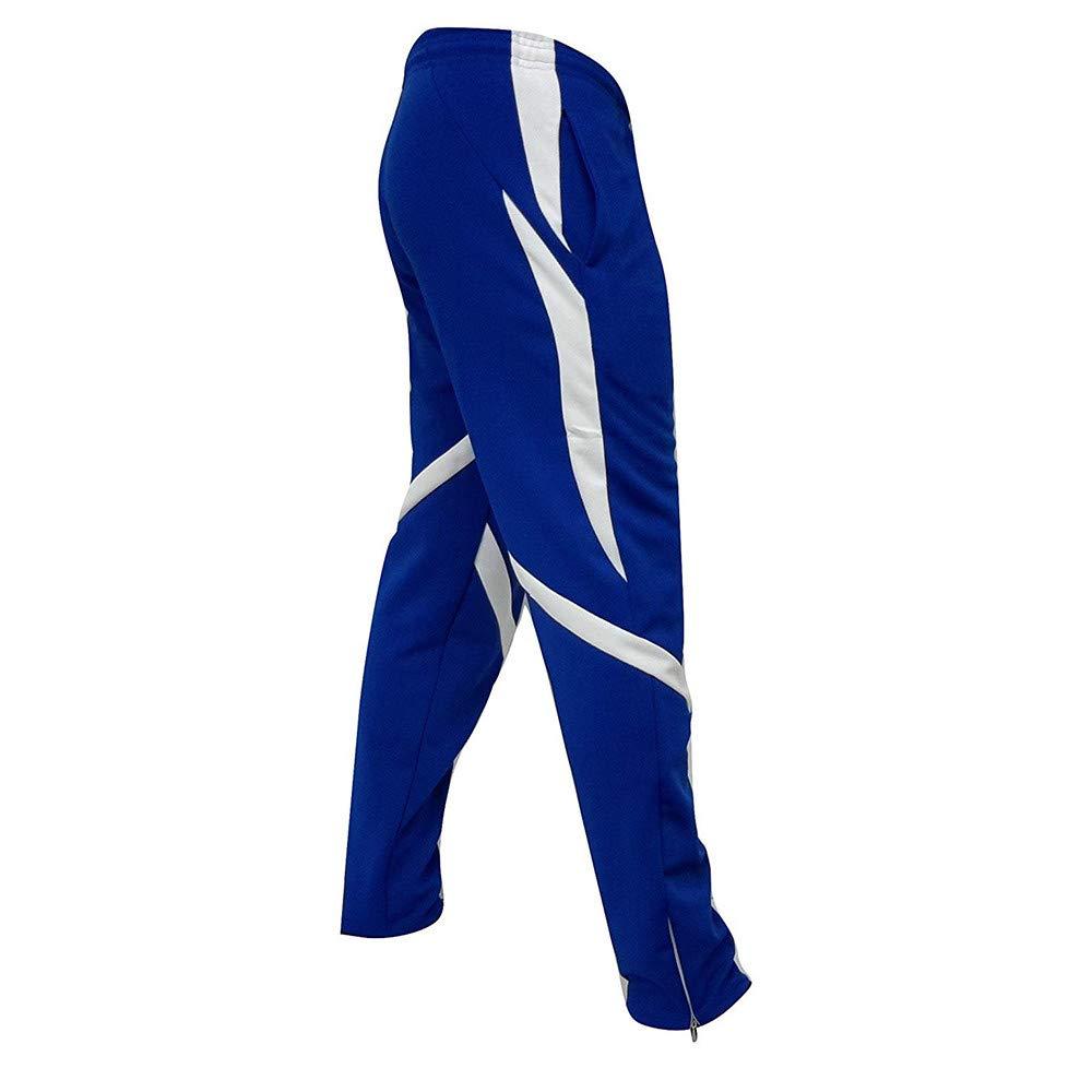 HTHJSCO Men's Athletic Skinny Track Pants Open Bottom (Blue, XXXL)