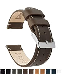 BARTON Quick Release Top Grain Leather Watch Strap - Choice of Colors & Widths (18mm, 20mm or 22mm) - Saddle/Linen 22mm Watch Band