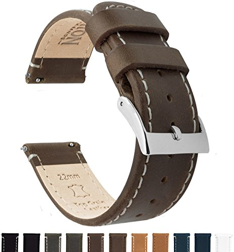 BARTON Quick Release Top Grain Leather Watch Band Strap - Choose Color & Width (18mm, 20mm or 22mm) - Saddle/Linen 20mm