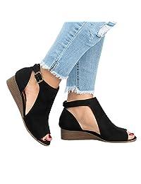 Women's Cut Out Espadrille Platform Wedge Sandals Ankle Strap Peep Toe Suede Shoes