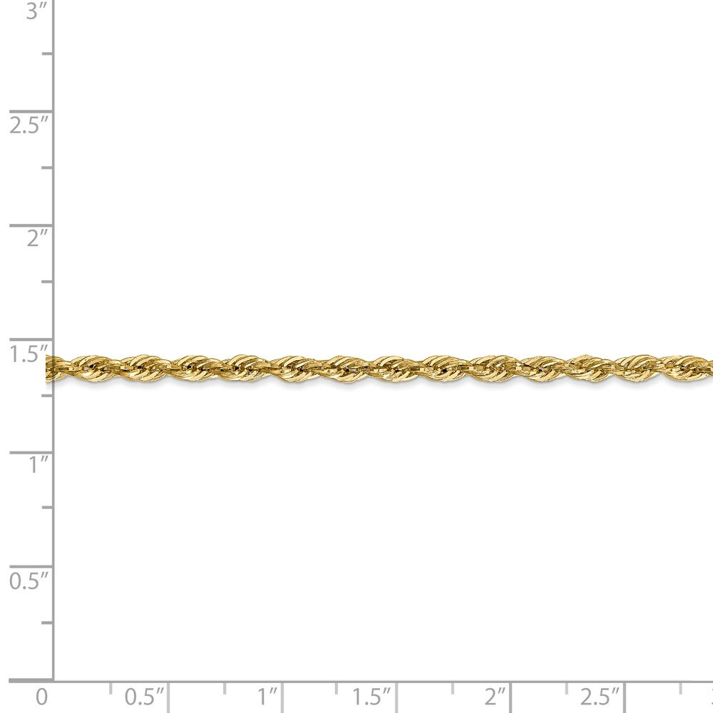 14k Gold Hollow Diamond-Cut Rope Chain Necklace with Lobster Clasp 2.8mm