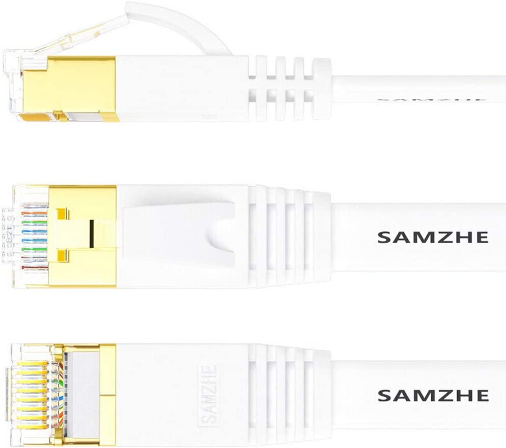 SAMZHE Ethernet Cable White 6.5ft CAT7 RJ45 STP LAN Cable High Speed Gigabit Network Patch Cord Gold Plated
