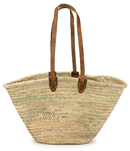 Moroccan Straw Market Shoulder Bag w/Leather Shoulder Straps, 21