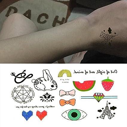 Oottati Pequeño Lindo Tatuaje Temporal Sandía Fresa Conejo Corazón ...