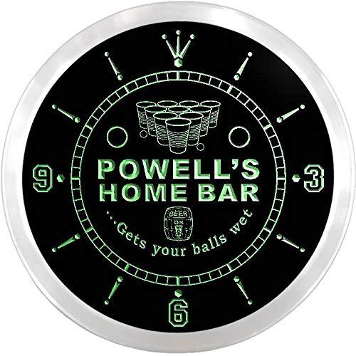 (ADVPRO ncx1085-tm Powell's Home Bar Beer Pong Custom Name Neon Sign Clock)