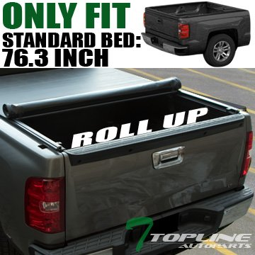 Topline Autopart Low Profile Roll Up Soft Vinyl Truck Bed Tonneau Cover For 02-08 Dodge Ram 1500 ; 03-09 2500/3500 6.5 Feet (78
