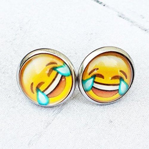 Tears of Joy - Laughing Crying - Emoji Earrings - Hypoallergenic Stainless Steel - Emoji Jewelry ()