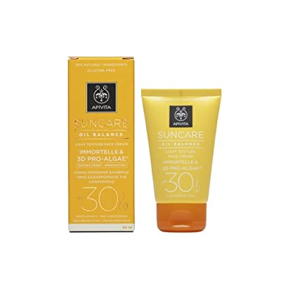 2 X Apivita Suncare Oil Balance Face Cream SPF30 With Immortelle & 3D Pro-Algae (New Product, Released in 2017) - 2 Tubes X 50ml/1.7oz each one