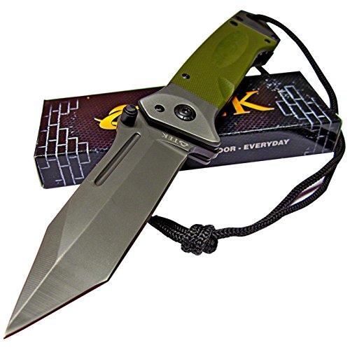 TEK Spring Assisted Opening Heavy Duty Folding Pocket Knife: 8Cr13MoV Razor Sharp Blade - LMF Style Pommel Lanyard - Lighting Fast Deployment (OD Green G10 - Tanto Blade)