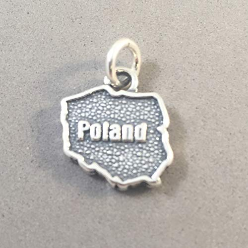 925 Sterling Silver Poland MAP Charm Pendant Outline Shape Word Europe Country Tourist Travel Places Warsaw Krakow Gdansk New .925 Bracelet Charm ct01po (Place Warsaw)