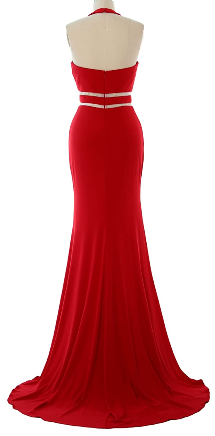 Amazon.com: MACloth Gorgeous Mermaid Prom Dress Halter Jersey Sexy Evening  Party Formal Gown: Clothing