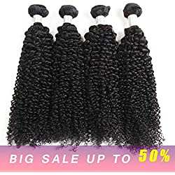 Factory wholesale 4 Bundles Virgin Brazilian Human kinky Curly Hair Weave 7A 100% Unprocessed Jerry curly hair bundles deep curly weft Extensions Mixed Length Natural Color(16161818)