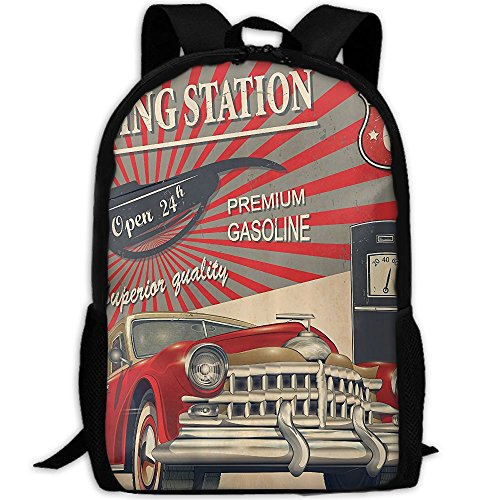 Poster Style Image Of Gasoline Station Fashion Outdoor Shoulders Bag Durable Travel Camping Backpack For - College Sunglasses Station
