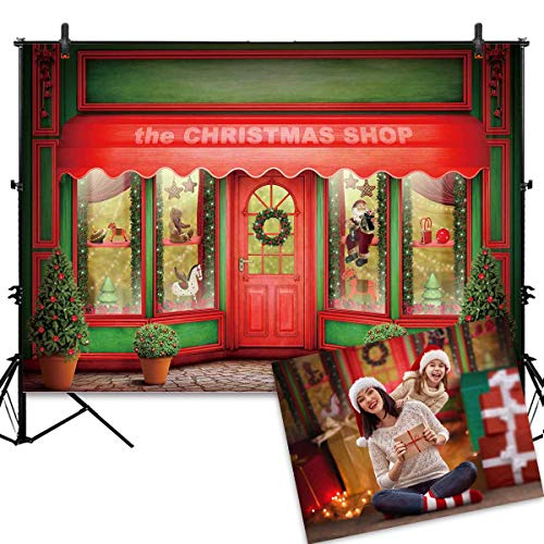 Allenjoy 7X5FT Green and Red Christmas Store Front Backdrop Santa Toys Display Xmas Day Warm Winter Decorations Family Party Background Photo Studio Booth Kids Photography Props