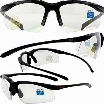 c05a04751ebe Amazon.com  Apex clear bifocal safety glasses 1.5 power  Sports   Outdoors