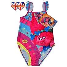 Kids Swimsuit Trolls|Poppy Rainbow Swimwear Official Licenced,5 Sizes(3-7 Years)