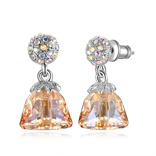 SUE S SECRET Cute Dress Shape Drop Earrings Made With Swarovski Crystal, White Golden Princess Dress Shape Crystal Earrings