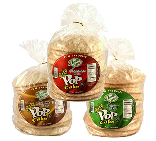 Puff Rice Cake - Health Express Puffy Pop Cakes- Assorted- Low Carb Low Calorie Healthy Snack, 3 Pack