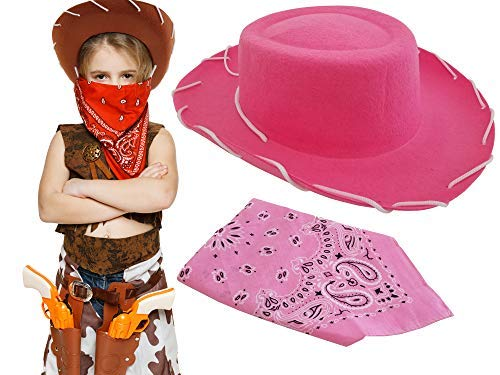 ToysOpoly Cowboy Hat with Western Bandanna Dress Up Costume Birthday Christmas Halloween (Pink)