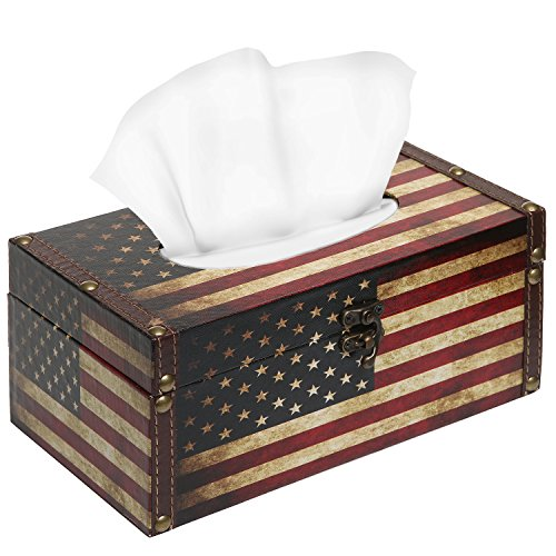 Decorative Vintage Patriotic American Flag Design Hinged Refillable Tissue Box Holder Cover - (Country Tissue Dispenser)