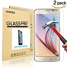 [2 PACK] Samsung Galaxy S6 Screen Protector, NOKEA [9H Hardness] [Crystal Clear] [Easy Bubble-Free Installation] [Scratch Resist] Tempered Glass Screen Protector for Galaxy S6 (for S6)