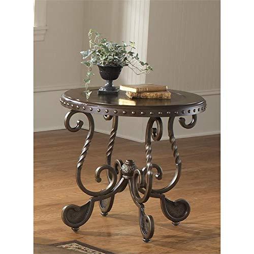(Bernards 9755 Metal Etched W/Nailhead End Table)