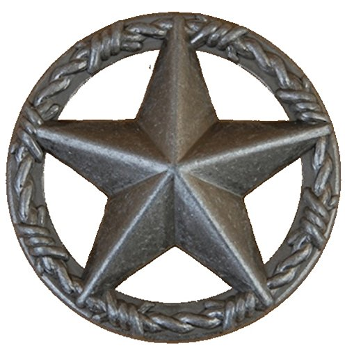 Set of 24 Star with Barbwire Ring Drawer or Cabinet Pull (Old Silver)