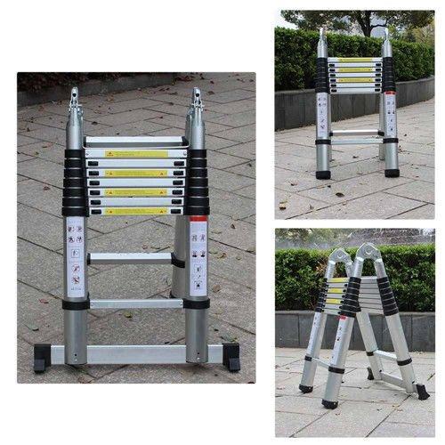 OUkANING Multifunktionsleiter 5M Leiter Teleskopleiter Aluleiter Anlegeleiter Mehrzweckleiter Alu max Belastbarkeit 150 kg