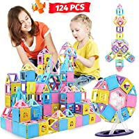 HOMOFY 124PCS Magnetic Building Blocks Magnet Tiles Early Educational & Development Toys for 3 4 5 6 7 Years Old Boys Girls Gifts