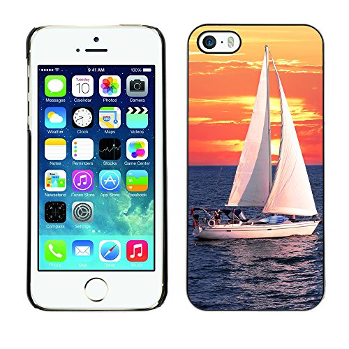 Hülle Case Schutzhülle Cover Premium Case // V00002551 Segelboote bei Sonnenuntergang // Apple iPhone 5 5S 5G