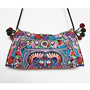 GaanZaLive36 Hmong Hand Stitching Embroidered Laptop Computer Crossbody Shoulder Messenger Travel Bags Tactical Pouches Sports Picnic Kid Backpacks Sleeves Cell Phone (11.5L x 7H inch,Multicolor)