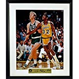 Larry Bird vs. Magic Johnson 16x20 Photograph (SGA Signature Engraved Plate Series) Framed