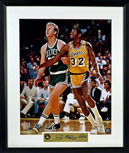 Boston Celtics Larry Bird vs. LA Lakers Magic Johnson 16x20 Photograph (SG Signature Engraved Plate Series) Framed