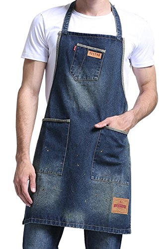 Vantoo Distress Denim Apron with 3 Pockets and Colorful Dots for Women Men - Perfect Gifts for Artist Painter,Navy - For Painter Gift