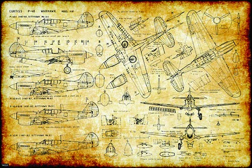 Retro Vintage WW2 Aircraft Curtis P-40 Warhawk War Plane Engineering Technical Drawing Schematic Home Decor Print Poster ()