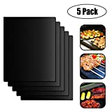 COMBREE Grill Mat Set of 5- Heavy Duty 500 Degree Non-Stick BBQ Grill & Baking Mats,Heat Resiatant,Reusable,Easy to Clean,Works Great on Gas,Charcoal,Electric Grill and More,16 x13 inch
