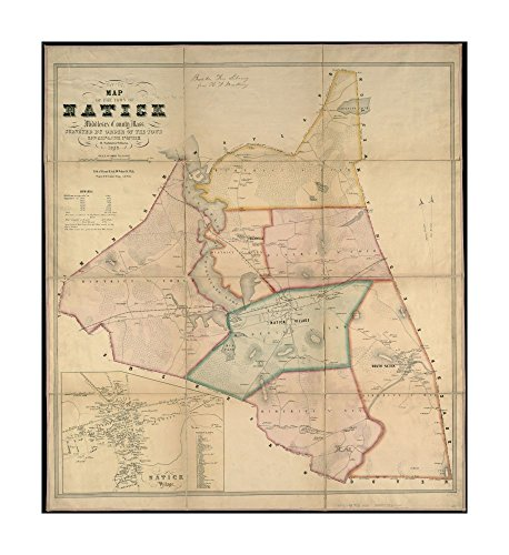 1853 Map Natick of town of Natick, Middlesex County, Mass: surveyed by order of town Relief shown by hachures.Shows buildings with names of property owners & town districts.