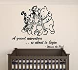 Winnie Pooh & Friends - A Grand Adventure Is About To Begin Quote Baby Room Wall Decal- Decal For Baby's Room (Wide 22'' x 18'' Height)