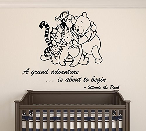 Winnie Pooh & Friends - A Grand Adventure Is About To Begin Quote Baby Room Wall Decal- Decal For Baby's Room (Wide 22