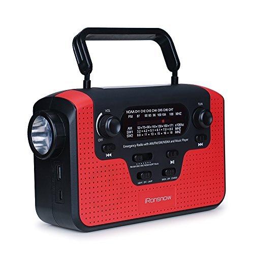 Real NOAA - Radio meteorológica con alarma, iRonsnow IS-388, manivela solar de emergencia, radio AM/FM/SW/WB, altavoz de...