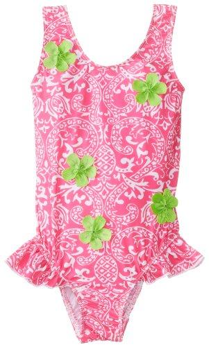Flap Happy Little Girls'  So Many Flowers Upf 50+ Swimsuit, Pink Pinapple Scroll, 5